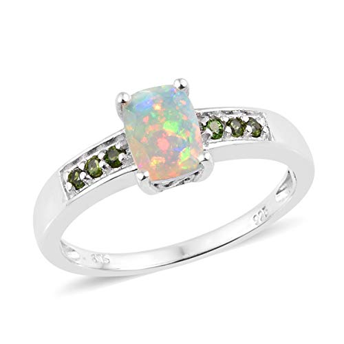 Opal Chrome Diopside Ring 925 Sterling Silver Platinum Plated Gift Jewelry for Women Size 9 Cttw 0.8