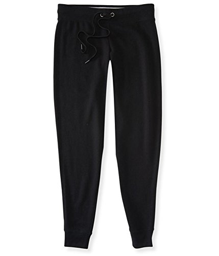 Aeropostale Womens Solid Athletic Jogger Pants, Black, Large