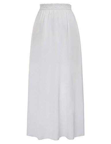 Half Slip Lingerie Slips Satin Snip-it Lace Underskirt Long,White,Size M ()