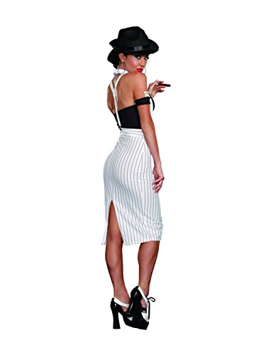 Dreamgirl Women's Dirty Work White Pinstripe Gangster Pin-Up Costume, White/Black, X-Large