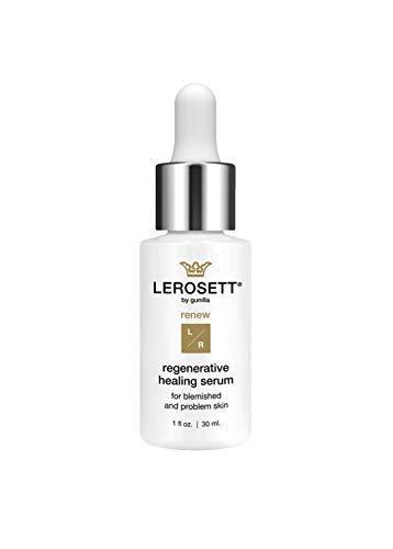LEROSETT® Regenerative Healing Serum | Heal Acne Marks, Pimples, Redness, Swelling, 69% Active Botanical Content, Oil-Free, Collagen, Elastin, Revitalin 1oz (60 Day)