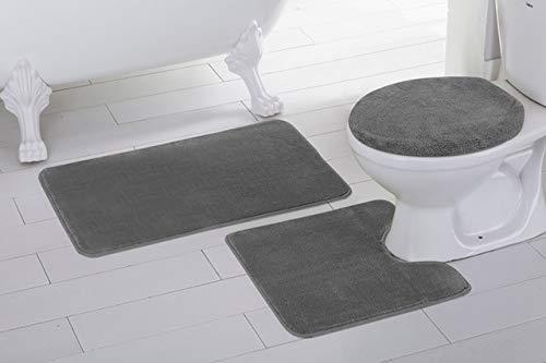 3pc Solid Charcoal/Dark Grey Non Slip Bath Rug Set for Bathroom U-Shaped Contour Rug, Mat and Toilet Lid Cover New (Charcoal Bathroom Rug)