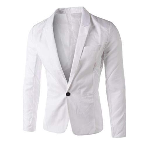 Print Pajamas Charm - Faionny Charm Men Jacket Single Buckle Suit Business Coat Slim Fit Blazer Tops Spring Blouse White