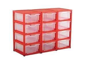 GratStack amplia unidad de almacenamiento con 12bandejas Gratnells de plástico.
