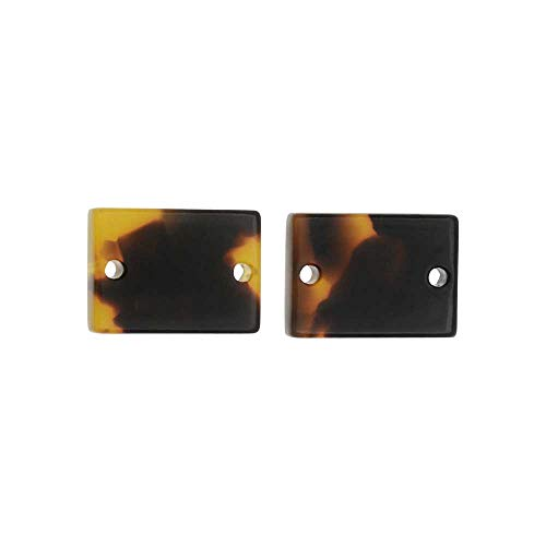 - Zola Elements Resin Connector Link, Rectangle 14x10mm, 2 Pieces, Brown Tortoise Shell