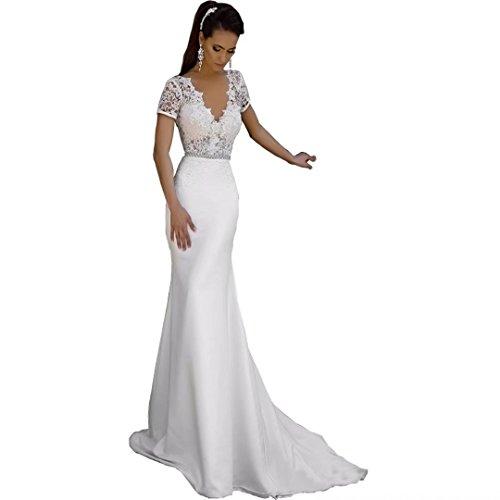Chady Satin Mermaid Beach wedding dresses for birde 2017 V-Neck Lace Appliques Backless Wedding dresses Mermaid