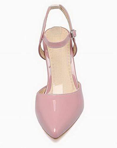 Boucle Sandales Unie Haut à TSFLH007800 AalarDom Talon Rose Couleur Femme Verni Spw08