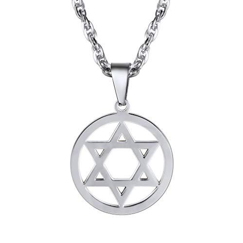 PROSTEEL Jewish Magen Star of David Necklace Men/Women Bat Mitzvah Gift Israel Judaica Hebrew Jewelry Hanukkah Pendant Stainless Steel,PSP2946G