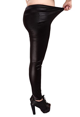 YMING Sexy Women's Girls Faux Leather Legging Tight Pant Black Size ()