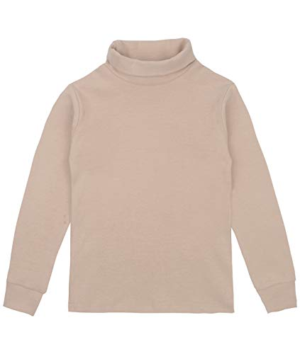 Spring&Gege Youth Girls Solid Turtleneck Cotton T-Shirt Kids Base Layer Tops Size 11-12 Years Beige (Neck Kids Turtles)