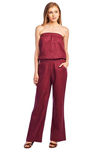 Dress Linen Strapless (High Style Women's Strapless Full length 100% Linen Jumpsuit (1402, Wine, M))