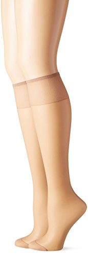 Silk Reflections Silky Sheer Knee High RT (Natural/One Size) Pack of Two