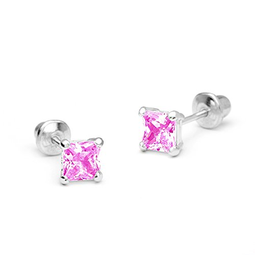925 Sterling Silver Rhodium Plated 3, 4,5mm Pink Princess Cut Cubic Zirconia Screwback Girls Earrings