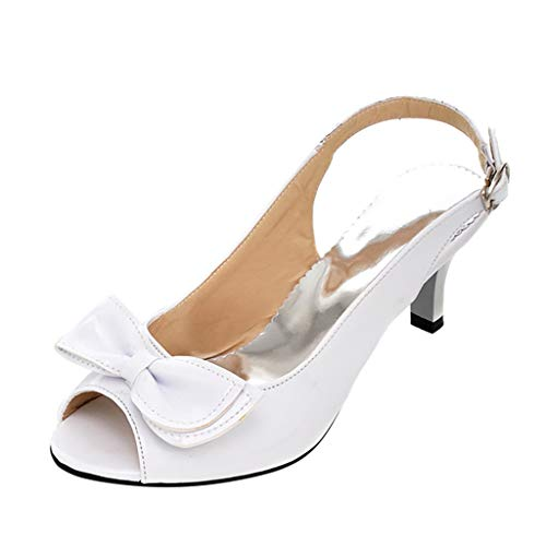 XLnuln Women's Sandals High Heels Belt Buckle Sandals Summer Ladies Shoes Fashion Suede Open Toe Heel Pump Sandals White