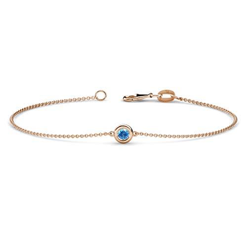 TriJewels Round Blue Topaz 3mm Womens Solitaire Station Minimalist Bracelet 14K Rose - 3mm Bezel 7 Round Inch