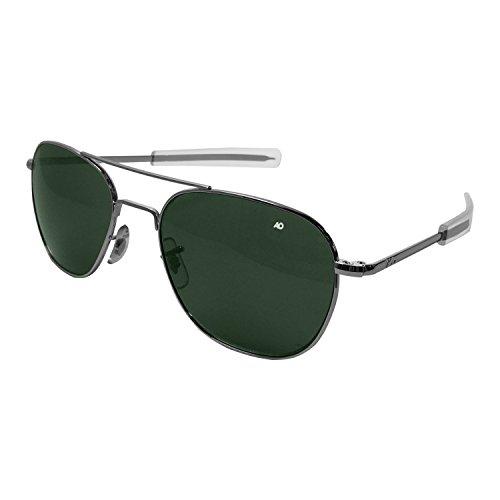 AO Eyewear American Optical - Original Pilot Aviator Sunglasses with Bayonet Temple and Silver Frame, Calobar Green Glass Lens