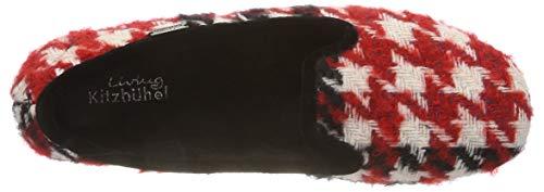 Laschenballerina Pantofole Living Mehrfarbig Karo Kitzbühel Donna schwarz 907 Rot rot schwarz 5rn5IYzf