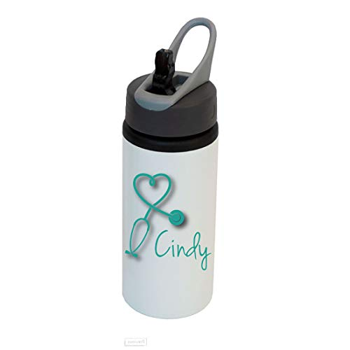 Stethoscope Nurse Personalized Custom Aluminum White Finish 22-Ounce Sport Water Bottle with Straw Lid, Handle, Customizable (Teal)]()