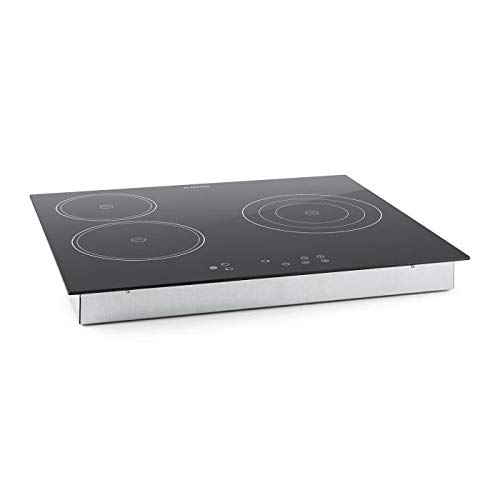 Klarstein Virtuosa Cocina encastrable de vitrocerámica (5300W Potencia, 59x52 cm, 3 Placas cerámica, Regulable 9 Niveles, Apagado automático, ...
