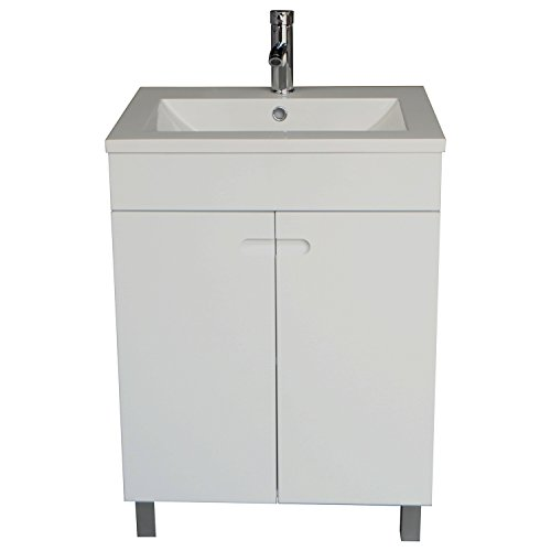 Sliverylake 24 Inch Solid MDF Wood Cabinet Storage Bathroom Vanity Top Vessel Sink Undermount in White with Faucet & Drain by Sliverylake