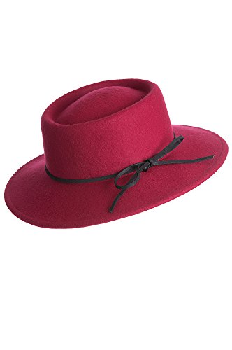 [Chicago Wool Felt Gaucho Hat, BERRY, Size 1 Size] (Red Felt Cowboy Hat With Band)