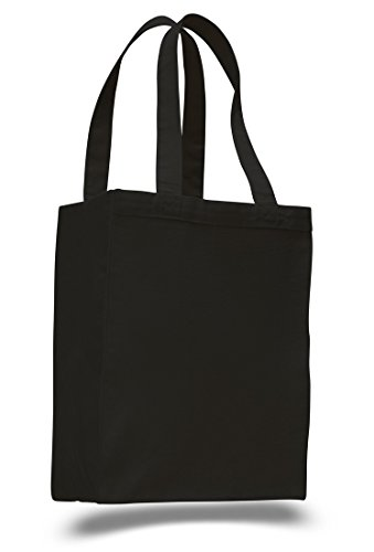 (12 Pack) Set of 12- Extra Heavy Duty Canvas Tote Bag with Gusset (Black) ()