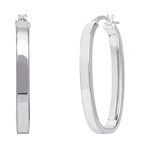 - ELLEN TRACY Sterling Silver Rectangular Square Hoop Earrings