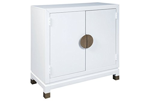 (Ashley Furniture Signature Design - Walentin 2-Door Accent Cabinet - Contemporary - White Finish - Gold Finished Metal Doors/Feet )