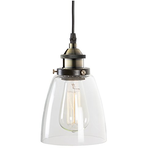 """Light Society Camberly Mini Pendant Light, Clear Glass Shade with Antique Brass Finish, Vintage Modern Industrial Farmhouse Lighting Fixture (LS-C109) - DIMENSIONS: Overall 5.5""""Dia x 70""""H. Shade 5.50""""Dia x 8.5""""H. Ceiling Canopy 5.5""""Dia x 1""""H ADJUSTABLE HEIGHT: 60""""H fully adjustable cord length. Compatible with sloped ceilings. This pendant is hardwired, installation required BULB REQUIREMENTS: Uses one medium-base (E26) light bulb. Works with incandescent, LED, CFL, halogen or wifi enabled and color changing bulbs (60W max, sold separately). Fully dimmable when used with a dimmable bulb and compatible dimmer switch (not included) - kitchen-dining-room-decor, kitchen-dining-room, chandeliers-lighting - 31k7dVAAWAL -"""