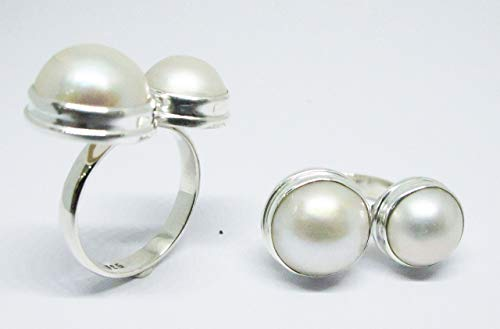 (adjustable genuine mabe pearl ring, double mabe pearl ring, you and me ring, 13 mm and 10 mm round mabe pearl)