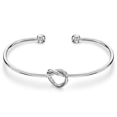 (PAVOI 14K Gold Plated Forever Love Knot Infinity Bracelets for Women | White Gold Bracelet)