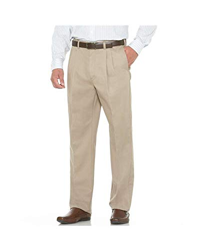 (Savane Men's Flat Front Performance Chino Pant, Khaki, 40W x 32L)