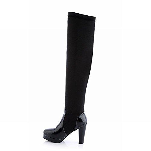 Carolbar Womens Chic A Forma Di Stella Borchiato Piattaforma Moda Tacco Alto Stivali Alti Nero