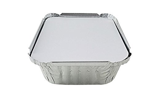50-Pack Heavy Duty Disposable Aluminum Oblong Foil Pans with Lid Covers | 100% Recyclable Tin Food Storage Tray | Extra-Sturdy Containers for Cooking, Baking, Meal Prep, Takeout 1 LB 6 x 5 x 2 by DCS Deals (Image #3)