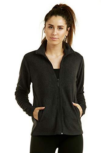 ET TU Women's Zip Up Polar Fleece Jacket Plus Size (3XL, Charcoal)