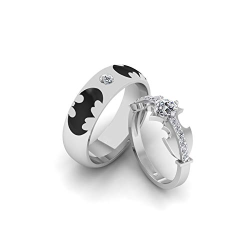 Couples Matching Batman Style Ring Black & White Gold Plated Alloy Fashion Unisex Jewellery