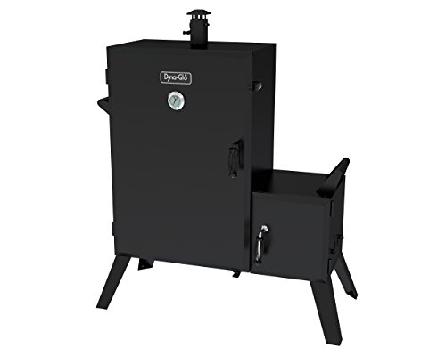 Dyna-Glo DGO1890BDC-D Wide Body Vertical Offset Charcoal Smoker - Oak Patio Door