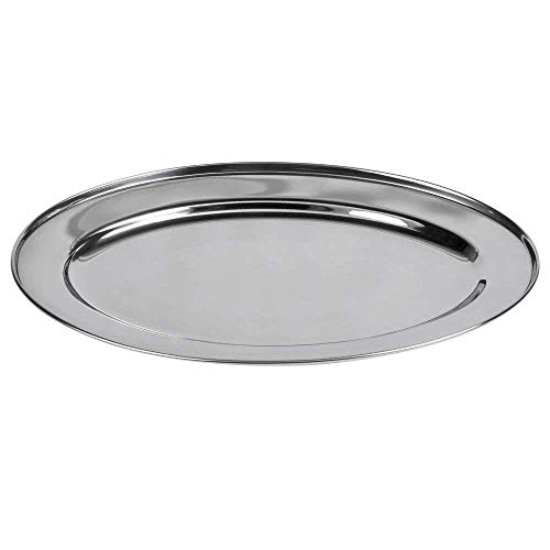 (Big Christmas Gift Stainless Steel Oval Shape Fish Tray, Fish Serving Platter, Serving Tray - 22 Inch)