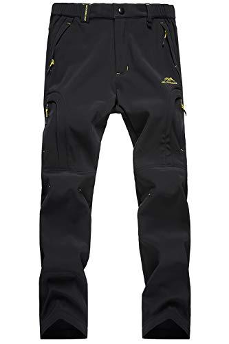 Snowboarding Pants for Women Windproof Pants Zip Pockets Fleece-Lined Pants Waterproof Pants Hiking Camping Pants Softshell Pants Black