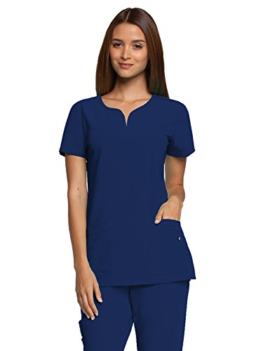Pocket Scrub Top (Grey's Anatomy Signature Women's Two Pocket Notch Yoke Neck Scrub Top, Indigo, Medium)