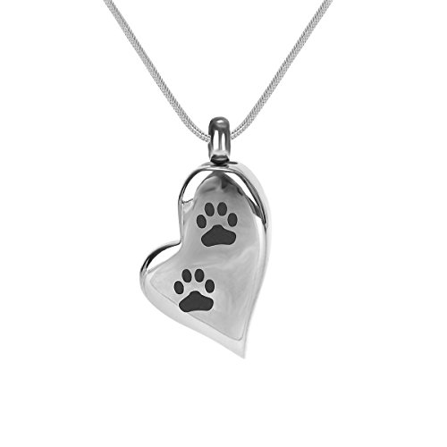 Cremation Urn Jewelry Waterproof Pet Dog Paw Print Urn Pendant Memorial Remains Ashes Keepsake Necklace
