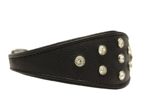 Rhinestones Bling Leather Hound Dog Collar, Wide, Padded, Double-Ply, Riveted Settings, 18