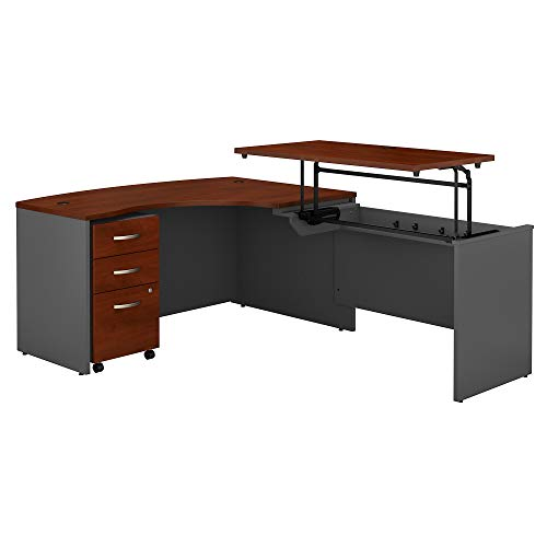 (Bush Business Furniture Series C 60W x 43D Right Hand 3 Position Sit to Stand L Shaped Desk with Mobile File Cabinet in Hansen Cherry/Graphite Gray)