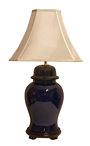 Lamp Ginger Jar Porcelain (A Ray Of Light 54112CCC Ginger Jar Porcelain Table Lamp with Off White Double Lined Shantung Silk Cut Corner Square Lamp Shade, Extra Large, 7