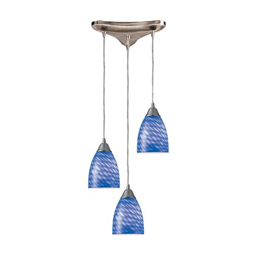 - Arco Baleno 3 Light Pendant In Satin Nickel And Sapphire Glass