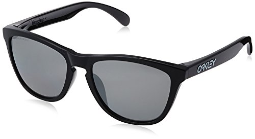 Oakley Men's Frogskins (a) 0OO9245 Polarized Iridium Rectangular Sunglasses, POLISHED BLACK, 54.01 - Sunglasses Frogskins