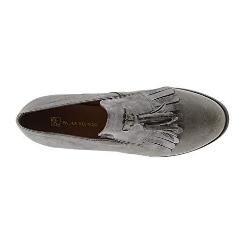 Con Zapatos Gris Cuña Piel Piel Zapatos vnxTPqw4R