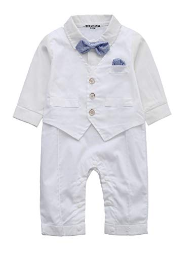 Baptism Baby Clothes - HMD Baby Boy Long Sleeve Gentleman White Shirt Waistcoat Bowtie Tuxedo Onesie Jumpsuit Overall Romper (White, 6-9 M)