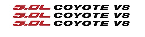 Tower Decals 5.0L [Red] Coyote [Red] Hood Vinyl Decal Emblem Fits Ford