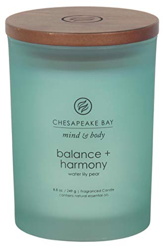 Chesapeake Bay Candle Mind & Body Scented Candle with Lid, Medium, Balance + Harmony (Water Lily Pear)